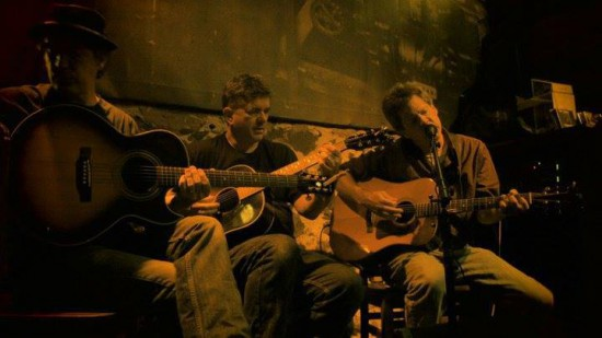Joe Fahey (center, with Jim Walsh and John Magnuson) at the Fitger's Mad Ripple Hootenanny, Duluth, August 2011.
