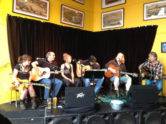 (L-r) Jeaneen Gauthier, Joe Tougas and Ann Rosenquist Fee (The Frye), Jeff Crandall, Brian Drake, and Jim Walsh. (Photo by Jenny Crandall.)