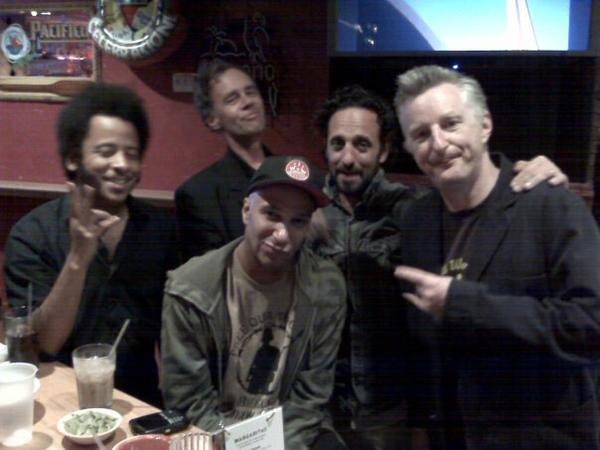 (L-r) Boots Riley, David Carr, Tom Morello, Ike Reilly, Billy Bragg at Pepito's, post-Hoot 2008, 2:30 a.m. (Photo by Jim Walsh.)